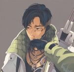 1boy apex_legends black_eyes black_gloves black_hair blood collarbone crypto_(apex_legends) cyborg gloves green_sleeves grey_jacket jacket jewelry looking_to_the_side male_focus momonga_(mmng5) necklace nosebleed partially_fingerless_gloves solo wiping_face