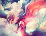 above_clouds blurry commentary_request flying gen_6_pokemon green_eyes heart highres legendary_pokemon night no_humans open_mouth pokemon pokemon_(creature) riri_(riri_nasinasi) signature solo talons white_fur yveltal