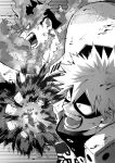 2boys armor bakugou_katsuki beard boku_no_hero_academia explosion facial_hair fighting_stance fire from_side greyscale looking_at_another male_focus mature_male monochrome multiple_boys muscular muscular_male pauldrons popo_take profile scar scar_across_eye short_hair shoulder_armor sideburns spiky_hair stubble todoroki_enji