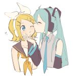 !! 2girls aqua_eyes aqua_hair aqua_neckwear bangs bare_shoulders black_collar black_sleeves blonde_hair blue_eyes bow cheek_kiss closed_eyes collar cropped_torso detached_sleeves grey_shirt hair_bow hair_ornament hairclip hand_on_another's_chin hand_up hatsune_miku headphones highres kagamine_rin kiss light_blush long_hair looking_at_another m0ti multiple_girls neckerchief necktie one_eye_closed sailor_collar school_uniform shirt sketch sleeveless sleeveless_shirt smile swept_bangs twintails upper_body very_long_hair vocaloid white_background white_bow white_shirt yellow_neckwear yuri