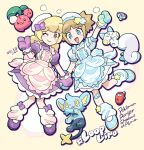 2girls :d apron arm_up bandaid bandaid_on_leg bangs blonde_hair blunt_bangs blush_stickers bow brown_eyes character_request check_character cherubi closed_mouth commentary_request dated dress eyebrows_visible_through_hair eyelashes gen_4_pokemon hair_bow hat kate_(pokemon) leg_warmers long_hair mittens multiple_girls nibo_(att_130) open_mouth oven_mitts pachirisu pokemon pokemon_(creature) pokemon_(game) pokemon_ranger pokemon_ranger_2 purple_dress purple_mittens rhythmi_(pokemon) shinx shoes short_sleeves smile translation_request