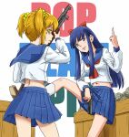 2girls anbj bangs blonde_hair blue_hair blunt_bangs box copyright_name finger_on_trigger glock grey_eyes gun hair_ornament hair_scrunchie handgun hime_cut long_hair middle_finger multiple_girls navel parted_lips pipimi pistol pleated_skirt poptepipic popuko school_uniform scrunchie serafuku short_twintails shotgun sidelocks skirt twintails weapon winchester_model_1897 yellow_eyes