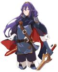 1girl blue_eyes blue_hair breasts closed_mouth fire_emblem fire_emblem_awakening gloves highres long_hair looking_at_viewer lucina_(fire_emblem) sakuremi simple_background solo sword tiara weapon white_background