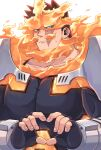 1boy armor beard blue_bodysuit blue_eyes bodysuit boku_no_hero_academia closed_mouth collarbone commentary_request facial_hair facing_viewer fingerless_gloves fingernails fire furrowed_eyebrows gloves heart heart_hands large_pectorals looking_away looking_to_the_side male_focus miso_(mimimiso) multiple_sources muscular muscular_male pauldrons pectorals redhead scar scar_across_eye short_hair shoulder_armor sideburns simple_background solo spiky_hair sweatdrop todoroki_enji upper_body vambraces white_background
