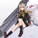 1girl alternate_costume anavel_gato anavel_gato_(cosplay) bazooka_(gundam) black_legwear black_ribbon blonde_hair blush brown_footwear cosplay epaulettes eyebrows_visible_through_hair gundam gundam_0083 gundam_gp-02_physalis hair_flaps hair_ornament hair_ribbon hairclip highres kantai_collection kneehighs loafers long_hair long_sleeves messy_hair military military_uniform parody red_eyes remodel_(kantai_collection) ribbon shield shoes solo sugue_tettou twitter_username uniform yuudachi_(kancolle) zeon