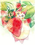 :d alternate_color fang food fruit gen_4_pokemon grey_eyes highres looking_at_viewer no_humans open_mouth pachirisu pokemon pokemon_(creature) rrrpct shiny_pokemon smile solo strawberry symbol_commentary traditional_media watercolor_(medium)