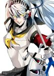 1girl arm_up axe blue_hair breasts glowing glowing_eyes hair_between_eyes highres joints labrys_(persona) lips long_hair looking_at_viewer mechanical_arms mechanical_parts parted_lips persona persona_4 persona_4:_the_ultimate_in_mayonaka_arena pertex_777 ponytail red_eyes robot robot_joints school_uniform shadow_(persona) shadow_labrys simple_background skirt solo very_long_hair white_background yellow_eyes