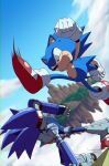 2boys banel_springer battle black_eyes blue_sky clouds furry gloves highres kicking male_focus mecha_sonic multiple_boys red_footwear robot shoes sky sneakers sonic_&_knuckles sonic_(series) sonic_the_hedgehog sonic_the_hedgehog_(classic) white_gloves