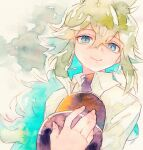 1boy bangs blue_eyes closed_mouth collared_shirt commentary_request eyelashes fingernails green_hair hair_between_eyes hat highres holding holding_clothes holding_hat long_hair male_focus n_(pokemon) pokemon pokemon_(game) pokemon_bw rrrpct shirt smile solo traditional_media undershirt watercolor_(medium) white_shirt