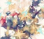 blue_eyes bright_pupils commentary_request darkrai gen_4_pokemon looking_back mythical_pokemon no_humans pokemon pokemon_(creature) rrrpct solo star_(symbol) traditional_media watercolor_(medium)