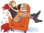 1boy armchair belt black_footwear black_gloves black_legwear black_shirt blonde_hair boku_no_hero_academia boots brown_jacket brown_pants buttons chair clenched_hand closed_eyes closed_mouth commentary_request crossed_ankles earrings facial_hair feathered_wings feathers full_body fur-trimmed_jacket fur_trim gloves gloves_removed hand_on_shoulder hawks_(boku_no_hero_academia) jacket jacket_removed jewelry male_focus miso_(mimimiso) pants pocket red_feathers red_wings shadow shedding shirt shoe_soles short_hair short_sleeves shoulder_massage sitting_sideways socks solo stubble too_many too_many_feathers wings