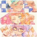 1girl 2boys baseball_cap bespectacled blush clenched_teeth closed_mouth ear_piercing earrings eyelashes facial_hair glasses green_eyes grin hair_ornament hand_up hat index_finger_raised jewelry leon_(pokemon) long_hair multiple_boys one_eye_closed orange_hair piercing pokemon pokemon_(game) pokemon_swsh purple_hair raihan_(pokemon) rrrpct smile sonia_(pokemon) star_(symbol) star_hair_ornament symbol_commentary teeth traditional_media undercut watch watch watercolor_(medium)