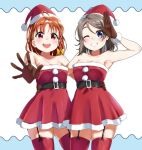 2girls :d ahoge arm_around_waist armpits bare_shoulders belt black_belt blush bow braid brown_gloves brown_hair dress fur-trimmed_gloves fur_trim garter_straps gloves grey_hair hair_bow hair_ornament hairclip hat highres igarashi_kyouhei looking_at_viewer love_live! love_live!_sunshine!! medium_hair multiple_girls one_eye_closed open_mouth pom_pom_(clothes) red_dress red_eyes red_headwear red_legwear salute santa_dress santa_hat side_braid skindentation smile standing strapless strapless_dress takami_chika thigh-highs violet_eyes watanabe_you yellow_bow