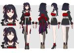 1girl ^_^ black_flower black_hair black_skirt breasts character_sheet closed_eyes collarbone detached_collar flower from_behind from_side full_body hair_flower hair_ornament highres indie_virtual_youtuber kurosaki_yuria loalo long_hair medium_breasts multiple_views official_art open_hands open_mouth red_eyes second-party_source single_sleeve single_thighhigh skirt standing thigh-highs virtual_youtuber white_background wrist_cuffs