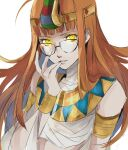 1girl arm_up armlet bangs bare_shoulders black-framed_eyewear breasts egyptian_clothes english_commentary glasses glowing glowing_eyes headband highres jewelry lips long_hair looking_at_viewer medium_breasts midriff mummy orange_hair persona persona_5 pertex_777 sakura_futaba shadow_(persona) shadow_futaba simple_background solo upper_body white_background yellow_eyes
