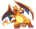 charizard claws commentary_request fangs fire full_body gen_1_pokemon highres legs_apart morio_(poke_orio) no_humans open_mouth pokemon pokemon_(creature) simple_background solo standing tongue white_background