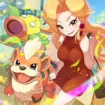 1girl bangs beauty_(pokemon) blonde_hair blurry blurry_background blush breasts brown_bag brown_dress closed_mouth commentary_request day dress earrings eyelashes gen_1_pokemon growlithe holding_strap jewelry leaves_in_wind lipstick long_hair makeup nail_polish outdoors pokemon pokemon_(creature) pokemon_(game) pokemon_lgpe sleeveless sleeveless_dress smile tom_(pixiv10026189) weepinbell yellow_eyes