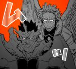 2boys beard boku_no_hero_academia facial_hair feathered_wings fire frown glaring hawks_(boku_no_hero_academia) male_focus mature_male monochrome multiple_boys muscular muscular_male orange_theme pectorals scar scar_across_eye short_hair sideburns spiky_hair stubble todoroki_enji u2suke upper_body wings