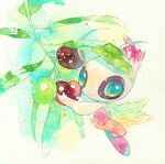 alternate_color celebi closed_mouth commentary_request gen_2_pokemon green_eyes heart heart_in_eye holding looking_at_viewer mythical_pokemon no_humans pokemon pokemon_(creature) rrrpct shiny_pokemon smile solo symbol_in_eye traditional_media watercolor_(medium)