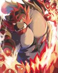 abasirisippo claws commentary_request fire furry gen_7_pokemon green_eyes highres incineroar looking_to_the_side no_humans pokemon pokemon_(creature) sharp_teeth solo teeth