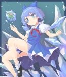 >:) 1girl black_footwear blue_bow blue_dress blue_eyes blue_hair blush bow cirno closed_mouth determined dress eyelashes five_star_stories flying frog frozen_frog hair_bow highres ice ice_wings looking_at_viewer nano_(mianhua_maoqiu) neck_ribbon pinafore_dress puffy_short_sleeves puffy_sleeves red_ribbon ribbon shirt shoes short_dress short_hair short_sleeves smile socks solo touhou v-shaped_eyebrows w_arms white_legwear white_shirt wing_collar wings
