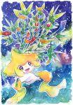 :d border gen_3_pokemon highres jirachi mythical_pokemon no_humans open_mouth outline pokemon pokemon_(creature) rrrpct smile solo sparkle symbol_commentary tanabata tongue traditional_media watercolor_(medium) white_border