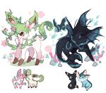 brown_eyes charamells commentary english_commentary fusion gen_1_pokemon gen_2_pokemon gen_4_pokemon gen_6_pokemon grass highres leafeon looking_back no_humans paws pokemon pokemon_(creature) standing sylveon toes umbreon vaporeon