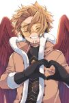 1boy backlighting black_gloves black_shirt blonde_hair boku_no_hero_academia brown_jacket buttons closed_eyes commentary_request facial_hair facing_viewer feathered_wings fur-trimmed_gloves fur-trimmed_jacket fur_trim gloves goggles grin happy hawks_(boku_no_hero_academia) headphones heart heart_hands high_collar jacket long_sleeves male_focus miso_(mimimiso) multiple_sources red_wings shirt short_hair simple_background smile solo stubble tinted_eyewear upper_body white_background wings yellow-tinted_eyewear