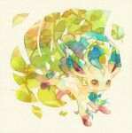 brown_eyes full_body gen_4_pokemon highres leaf leafeon looking_at_viewer looking_to_the_side no_humans paws pokemon pokemon_(creature) rrrpct solo toes traditional_media watercolor_(medium)