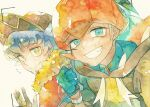2boys bangs baseball_cap blue_hair cape clenched_teeth closed_mouth collared_shirt dynamax_band earrings eyelashes facial_hair fur-trimmed_cape fur_trim gloves hand_up hat hood hoodie jewelry leon_(pokemon) looking_at_viewer male_focus multiple_boys orange_headwear partially_fingerless_gloves pokemon pokemon_(game) pokemon_swsh raihan_(pokemon) rrrpct shirt smile symbol_commentary teeth thumbs_up traditional_media watercolor_(medium) yellow_eyes