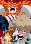 2boys absurdres angry armor bakugou_katsuki ben_(ahan_uhun_345) blonde_hair blue_bodysuit bodysuit boku_no_hero_academia crossed_arms explosion fire highres large_pectorals male_focus mature_male multiple_boys muscular muscular_male pauldrons redhead scar scar_across_eye short_hair shoulder_armor sideburns spiky_hair todoroki_enji upper_body