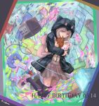 1girl animal_hood backpack bag bangs black_legwear black_shirt brown_skirt cat_hood character_doll collared_shirt commentary_request danganronpa_(series) danganronpa_2:_goodbye_despair dated doll_hug game_console gamecube gamecube_controller happy_birthday hinata_hajime hood hood_up hooded_jacket jacket long_sleeves makura_(culpeos) medium_hair miniskirt monomi_(danganronpa) multicolored multicolored_background nanami_chiaki open_clothes open_jacket pink_bag pink_eyes purple_legwear shirt shirt_tucked_in shoes skirt thigh-highs white_shirt zettai_ryouiki