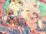 1boy animal_ears bangs bede_(pokemon) blush cat closed_mouth commentary_request cushion fingerless_gloves gen_1_pokemon gen_3_pokemon gen_7_pokemon gloves grey_eyes grey_hair jacket litten lying male_focus meowth on_back paw_print_pattern petting pokemon pokemon_(game) pokemon_swsh rrrpct short_hair skitty traditional_media watercolor_(medium) zzz