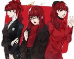 1girl arm_up black_bow black_ribbon black_suit bow breasts brown_coat buttons closed_mouth coat hair_bow hair_ribbon highres lips long_hair one_eye_closed open_mouth persona persona_5 persona_5_the_royal pertex_777 ponytail red_background red_bow red_coat red_eyes red_ribbon red_scarf redhead ribbon scarf school_uniform shirt shuujin_academy_uniform simple_background solo waving white_shirt yoshizawa_kasumi