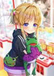 1girl alternate_costume bag black_hoodie blonde_hair blue_eyes blurry blurry_background blush casual closed_mouth commentary_request contemporary frog_hair_ornament hair_ornament highres hood hoodie long_hair long_sleeves looking_at_viewer moriya_suwako nora_wanko object_hug purple_shorts short_ponytail shorts sidelocks smile solo stuffed_animal stuffed_frog stuffed_toy touhou