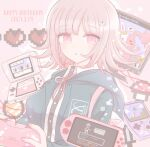 1girl 8takenokonosato8 bangs black_shirt breasts collared_shirt controller danganronpa_(series) danganronpa_2:_goodbye_despair dress_shirt eyebrows_visible_through_hair game_boy hair_ornament handheld_game_console heart hinata_hajime holding holding_controller holding_handheld_game_console hood hood_down hooded_jacket jacket large_breasts medium_hair monitor monokuma monomi_(danganronpa) nanami_chiaki nintendo_ds pink_eyes playing_games playstation_portable shirt shirt_tucked_in short_hair solo spoken_heart symbol_commentary upper_body white_shirt