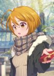 1girl absurdres ahoge bangs blonde_hair blurry blurry_background blurry_foreground blush box brown_eyes coat eriko eyebrows_visible_through_hair fur-trimmed_hood fur_trim gift gift_box hair_between_eyes highres holding holding_box hood hood_down hooded_coat hugtto!_precure kagayaki_homare open_clothes open_coat open_mouth plaid plaid_scarf precure ribbed_sweater scarf shiny shiny_hair short_hair solo sweater upper_body valentine winter_clothes winter_coat