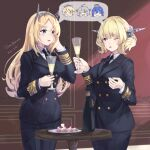 2girls alcohol artist_name black_neckwear blonde_hair blue_eyes blush bottle collared_shirt colorado_(kancolle) cowboy_shot cup dated epaulettes food headgear himeyamato holding holding_cup iowa_(kancolle) kantai_collection long_hair long_sleeves military military_uniform multiple_girls necktie nelson_(kancolle) one_eye_closed open_mouth shirt short_hair south_dakota_(kancolle) uniform washington_(kancolle) white_shirt
