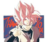 1boy 2020 arm_at_side artist_name black_shirt blue_background border bright_pupils commentary dragon_ball dragon_ball_super earrings english_commentary english_text evil_smile fenyon fingernails goku_black grey_shirt hand_up highres jewelry long_sleeves looking_at_viewer looking_up male_focus pink_hair potara_earrings ring shirt sidelighting simple_background single_earring sleeveless sleeveless_shirt smile spiky_hair super_saiyan super_saiyan_rose thank_you upper_body white_border white_pupils