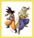 2boys ankle_boots back-to-back black_eyes black_hair blue_footwear boots border brown_footwear cape claws closed_mouth clothes_writing colored_skin dougi dragon_ball dragon_ball_z evil_smile fighting_stance fingernails full_body green_skin hands_up highres legs_apart looking_at_viewer male_focus multiple_boys muscular piccolo pointy_ears serious side-by-side sidelighting simple_background smile son_goku spiky_hair toriyama_akira_(style) turban wangsen578 white_background white_cape wristband yellow_border