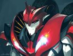 1boy black_background black_sclera colored_sclera decepticon english_commentary english_text glowing headlight knockout_(transformers) looking_ahead male_focus mecha no_humans red_eyes sarah_stone science_fiction smirk solo transformers transformers_prime upper_body