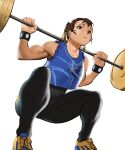 1girl barbell biceps black_bodysuit blue_tank_top bodysuit brown_eyes brown_hair cessa chun-li commission crop_top double_bun english_commentary exercise fingernails from_below hair_ribbon muscular muscular_female ribbon shoes short_hair skin_tight sneakers solo street_fighter street_fighter_zero_(series) striped studded_bracelet sweat tank_top unitard vertical_stripes weightlifting white_background yellow_footwear