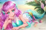 1girl bare_shoulders beach blue_eyes blue_sky blurry blurry_background blush bracelet closed_mouth clouds commentary crop_top day depth_of_field hair_ornament head_rest highres jewelry laura_(precure) long_hair looking_at_viewer lying mermaid midriff monster_girl necklace on_stomach outdoors palm_tree pearl_hair_ornament pearl_necklace pink_hair precure sand sky sleeveless smile solo tree tropical-rouge!_precure uta_(yagashiro25)