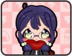 bow chibi glasses green_bow hair_tie jacket lowres original purple_hair raimon raimon_school_uniform red_scarf scarf school_uniform shirosaki_tomoyo shy tsxbomii. twintails yellow_eyes