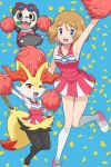 1girl :d absurdres arm_up armpits bangs bare_arms blue_background blue_eyes blue_ribbon braixen breasts cheerleader clothed_pokemon collarbone commentary_request confetti eyelashes gen_6_pokemon hand_up highres holding holding_pom_poms kneehighs knees knees_together_feet_apart leg_up light_brown_hair medium_hair open_mouth pancham pink_footwear pokemoa pokemon pokemon_(anime) pokemon_(creature) pokemon_xy_(anime) pom_poms ribbon serena_(pokemon) shiny shiny_skin shoes sleeveless smile sneakers sunglasses tongue white_legwear