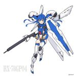 1girl blue_hair boots clothing_cutout flat_chest floating floating_hair green_eyes gun gundam gundam_0083 gundam_gp-04_gerbera highres holding holding_gun holding_shield holding_weapon i.takashi long_hair looking_at_viewer navel navel_cutout personification shield sketch smile solo thigh-highs thigh_boots v-shaped_eyebrows weapon white_background