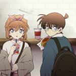 1boy 1girl backpack bag bangs black-framed_eyewear blue_eyes blue_jacket bow_hairband brown_coat brown_hair casual child coat commentary counter cup dessert disposable_cup drinking_straw edogawa_conan eyebrows_visible_through_hair food glasses hairband hamburger highres holding holding_cup jacket long_sleeves looking_at_viewer looking_back meitantei_conan niina_1oo9 off_shoulder pink_hairband school_bag shirt short_hair shoulder_bag signature white_shirt wide_sleeves