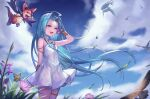 1girl :d bare_shoulders bird blue_eyes blue_hair blue_sky bracelet bug butterfly choker clouds commentary_request day dress flower granblue_fantasy grass highres insect jewelry leg_garter long_hair lyria_(granblue_fantasy) open_mouth outdoors sachi_(160332) sky smile standing vee_(granblue_fantasy) very_long_hair white_choker white_dress wind