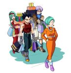 2boys 2girls ankle_boots aqua_hair arms_at_sides bag belt black_hair blue_eyes blue_neckwear boots box bra_(dragon_ball) bracelet brother_and_sister brown_footwear brown_gloves bulma cargo_shorts carrying_over_shoulder closed_eyes closed_mouth collarbone dragon_ball dragon_ball_gt earrings elbow_gloves family father_and_daughter father_and_son fingerless_gloves frown full_body gloves grey_footwear grey_gloves hairband hands_on_hips holding holding_box jacket jewelry lado_(rado) leaning_to_the_side light_smile long_hair long_skirt looking_to_the_side mother_and_daughter mother_and_son multiple_boys multiple_girls neckerchief necklace orange_skirt pants pearl_necklace purple_footwear purple_hair red_footwear red_gloves red_hairband red_skirt shoes shopping_bag short_hair shorts siblings simple_background skirt socks spiky_hair standing tank_top thigh-highs thigh_boots triangle_earrings trunks_(dragon_ball) turtleneck vegeta very_short_hair walking white_background wrinkles zettai_ryouiki