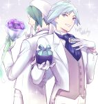 2boys absurdres bangs box buttons collared_shirt commentary_request eyebrows_visible_through_hair eyes_visible_through_hair flower gift gift_box gloves green_eyes green_hair green_ribbon grey_background grey_eyes grey_hair hat highres holding long_sleeves looking_back male_focus multiple_boys pants parted_lips pokemon pokemon_(game) pokemon_oras purple_flower ribbon shirt smile sparkle spiky_hair steven_stone tailcoat tudurimike vest wallace_(pokemon) white_gloves white_headwear white_pants white_shirt